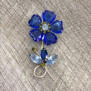 Vintage Juliana D&E Heart Flower Silver Brooch Pin